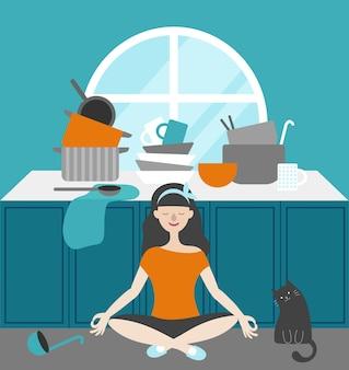 Gospodyni medytuje w kuchni przy stole z naczyniami. siedząc obok kota. na stole talerze, garnki, chochla, łyżka, kubek, ręcznik. płaski wektor