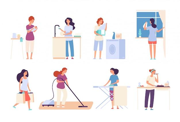 Gospodynie domowe. kobieta gospodyni domowa, szczęśliwa matka gotuje w kuchni, prasowanie i sprzątanie, odkurzanie. postaci z kreskówek wektorów