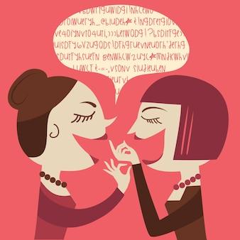 Gossiping kobiety ilustracja kreskówka