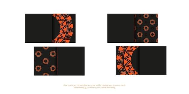 Gotowa do druku czarna wizytówka z pomarańczowymi wzorami. wektor wizytówki szablon z miejscem na twój tekst i rocznika ornament.