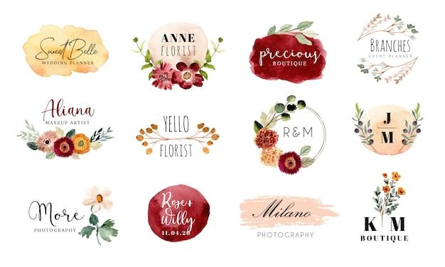 Gotowa kolekcja logo z motywem kwiatowym i pędzlem