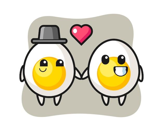 Gotowane jajko postać z kreskówki para z zakochaniem gest