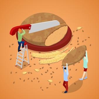 Gotowanie chleba z miniaturowymi ludźmi. płaskie 3d izometryczny ilustracja wektorowa