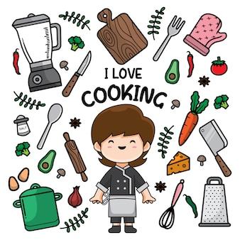 Gotowanie doodle tło