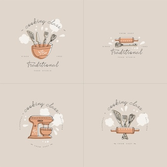 Gotowanie elementów liniowych projektu, zestaw emblematów kuchennych.