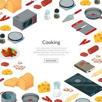 Gotowanie jedzenie izometryczny transparent