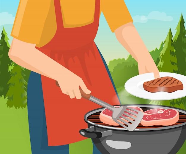 Gotowanie koncepcja grilla