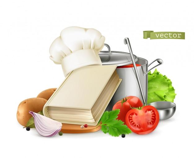 Gotowanie, książka kucharska. 3d realistyczna karmowa ilustracja