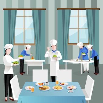 Gotowanie ludzi w kompozycji restauracji