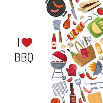 Gotowanie na grillu lub grillu z miejscem na tekst
