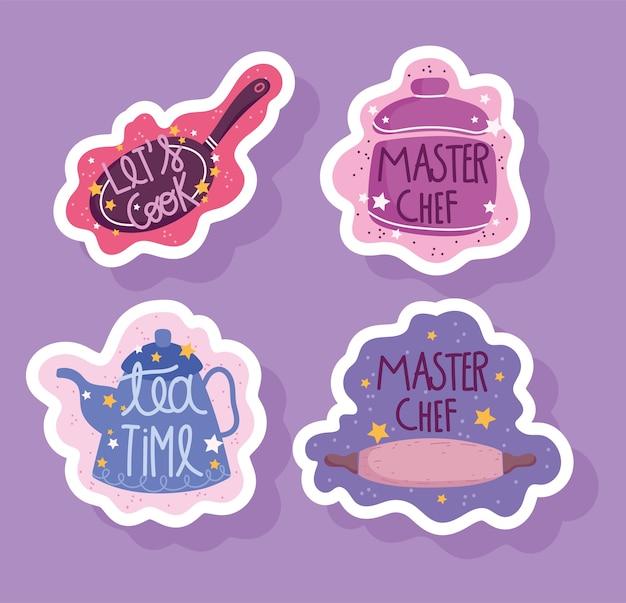 Gotowanie, napis, rondel, garnek, czajnik i toczenia garnek ikona ilustracja naklejki