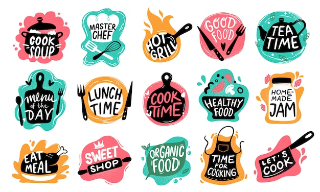 Gotowanie napis żywności. logo odznaki kuchenne, typografia do pieczenia żywności i zestaw etykiet gotować