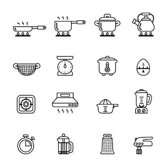 Gotowanie, narzędzia kuchenne i naczynia zestaw ikon