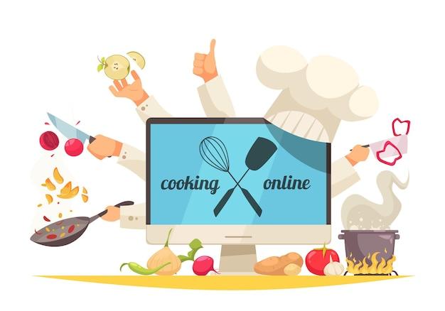 Gotowanie online koncepcja z płaskich symboli warsztatu szefa kuchni