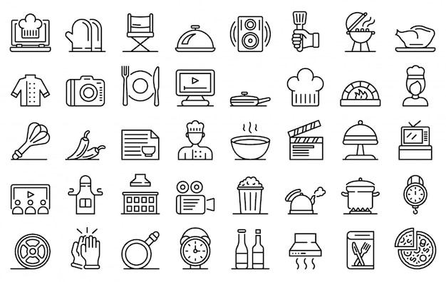 Gotowanie pokaż zestaw ikon, styl konturu