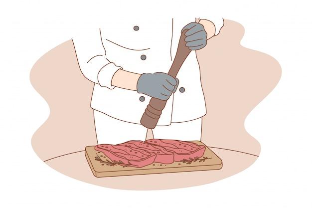 Gotowanie, praca, przygotowanie, koncepcja żywności