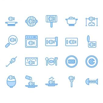 Gotowanie ryb i zestaw ikon związanych z jedzeniem