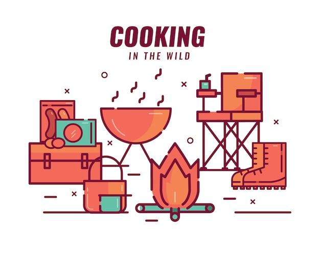 Gotowanie w dziczy. ognisko, jedzenie, kuchenka, garnek, krzesło kempingowe.