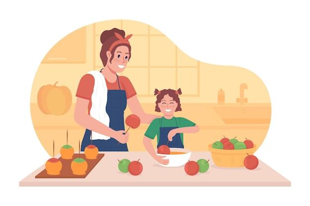 Gotowanie z dzieckiem w jesiennej ilustracji wektorowych 2d na białym tle