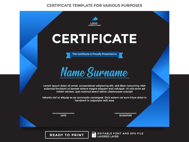 Gotowe do druku szablony certyfikatów do różnych celów