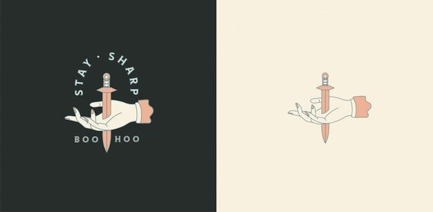 Gotowe logo ze sztyletem. konfigurowalna grafika logo, ręcznie rysowany projekt z typografią. miecz, broń. zasoby i elementy marki osobistej