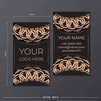 Gotowy do druku projekt wizytówki z luksusowymi wzorami. czarna wizytówka z greckimi ornamentami.