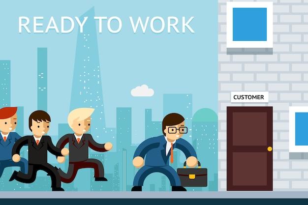 Gotowy do pracy. menedżerowie biznesowi czekają na klienta