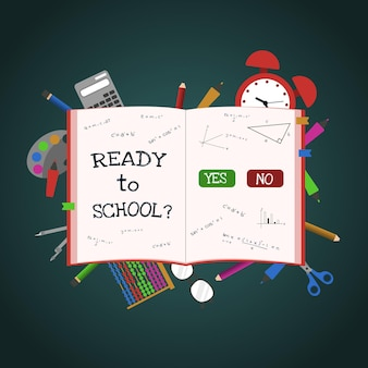 Gotowy do szkoły studium książki edukacja koncepcja tło wektor