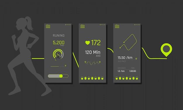 Gotowy interfejs aplikacji fitness, ux, grafiki informacyjne i wykresy. ekrany aplikacji fitness w płaskim stylu z wykresami i grafiką informacyjną. panel interfejsu użytkownika.