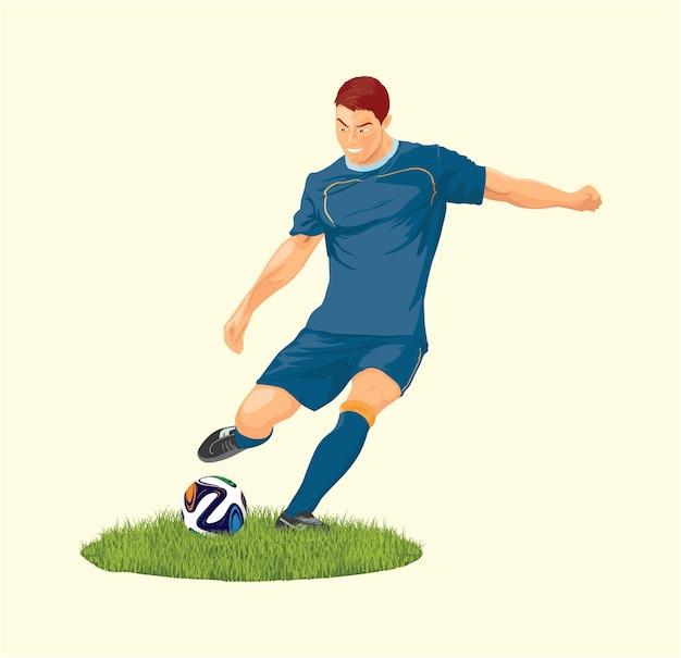 Gotowy piłkarz kopie piłkę podczas turnieju