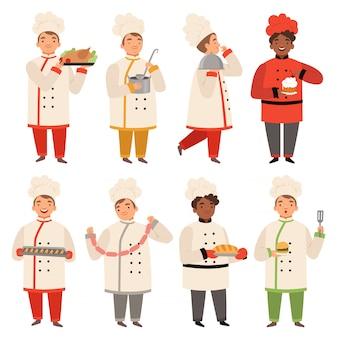Gotuj postacie, szef kuchni w kuchni gotuje różne smaczne jedzenie śmieszne maskotki kreskówek w różnych pozach