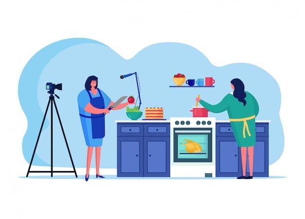 Gotujący online streaming, żeńskiego charakteru parzenia interneta transmitowania gospodarz odizolowywający na białej, płaskiej ilustraci ,. nadawana kobieta przygotowuje jedzenie.