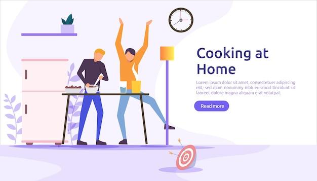 Gotuje w kuchni razem koncepcja.