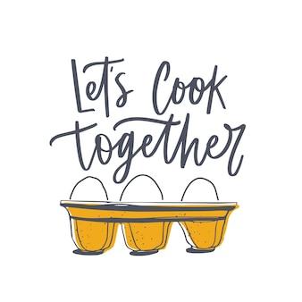 Gotujmy razem slogan i jajka na tacy lub w opakowaniu