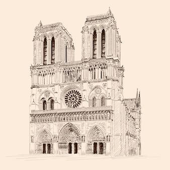 Gotycka katedra katolicka notre dame de paris w paryżu francja. szkic ołówkiem
