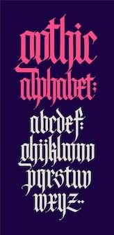 Gotycki, alfabet angielski. czcionka. elementy na białym tle. kaligrafia i napis. średniowieczne litery łacińskie.