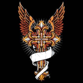 Gotycki krzyż z wektorem skrzydła