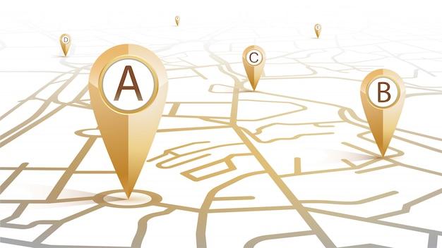 Gps pin ikona złoty kolor punktu a do f przedstawiający mapę ulic na białym tle