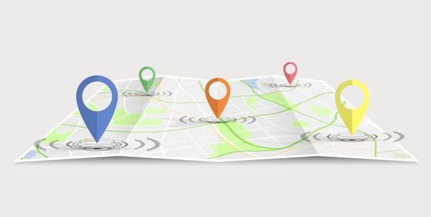 Gps pin pełny kolor pokazany na papierze mapowym