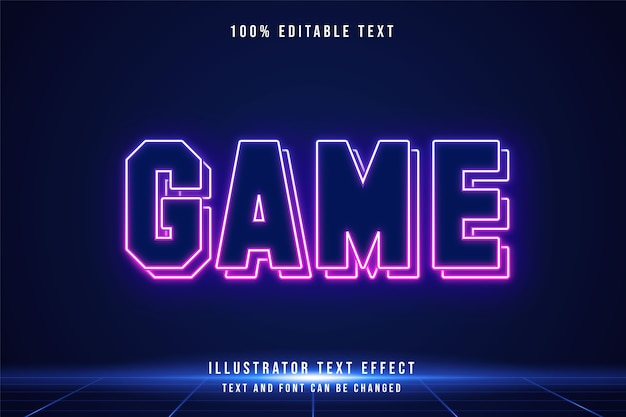 Gra, 3d edytowalny efekt tekstowy niebieski gradacja różowy nowoczesny futurystyczny styl neon