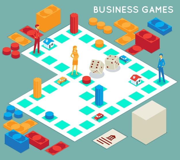 Gra biznesowa. konkurs sukcesu, gra planszowa i biznesmen, koncepcja strategii pomysł na pracę zespołową,