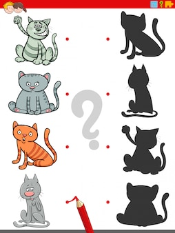 Gra cieni z zabawnymi postaciami kotów