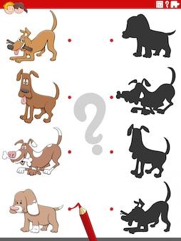 Gra cieni z zabawnymi postaciami psów