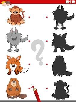 Gra cieni z zabawnymi postaciami zwierząt