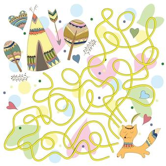 Gra dla dzieci - labirynt pomaga indyjskiemu lisowi wrócić do domu