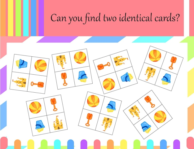 Gra dla dzieci w poszukiwaniu identycznych zdjęć. styl kreskówki. ilustracja wektorowa.