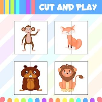 Gra dla dzieci wyciąć i bawić się obrazkami uroczych zwierzątek. styl kreskówki. ilustracja wektorowa.