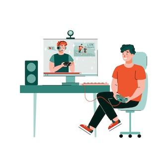 Gra e-sportowa gra online z graczami kreskówka wektor ilustracja na białym tle
