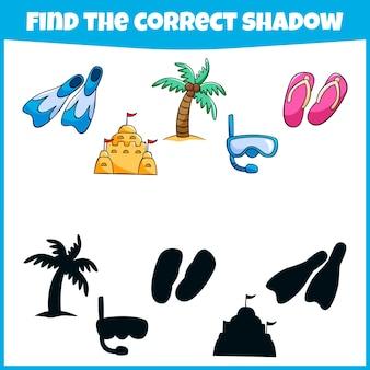 Gra edukacyjna dla dzieci, aby znaleźć odpowiednią minigrę w cieniu dla dzieci