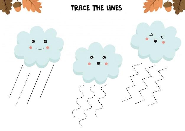 Gra edukacyjna dla dzieci. arkusz przedszkolny. śledź linie. słodkie chmury. praktyka pisma ręcznego.